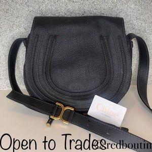 Chloe Marcie Medium black Leather Crossbody Bag